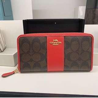 Coach Accordian Zip Around Wallet in Brown/Red
