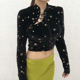 Starry Chinese Style Crop Top