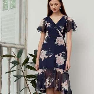 🚚 Lovengold Vivienne Floral Midi Dress in Navy