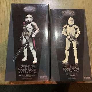 🚚 Star Wars Sideshow 1/6 Scale Commander Bacara & Clone Trooper Pair