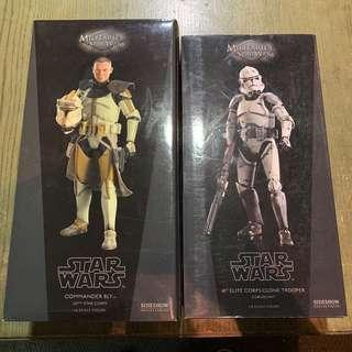 🚚 Star Wars Sideshow 1/6 Scale Commander Bly & Coruscant Clone Trooper Pair