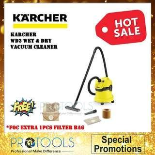 KARCHER MULTI-PURPOSE VACUUM CLEANER WD 2 CARTRIDGE FILTER KIT FOC 1 DUST BAG