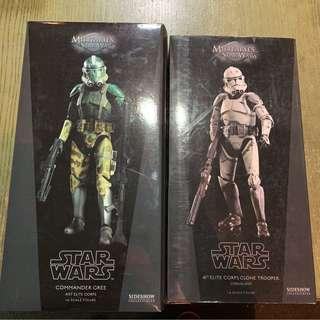 🚚 Star Wars Sideshow 1/6 Scale Commander Gree and Coruscant Clone Trooper Pair