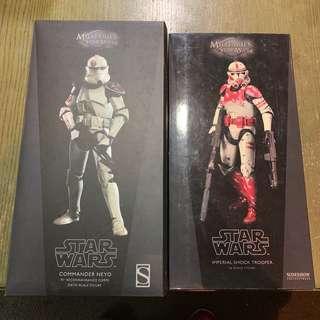 🚚 Star Wars Sideshow 1/6 Scale Commander Neyo & Shock Clone Trooper Pair