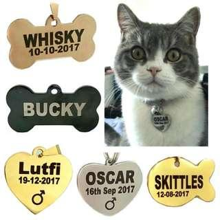 Simple Text Custom DEEP Engraved  Both Side Pet ID Tag  For Dogs and Cats