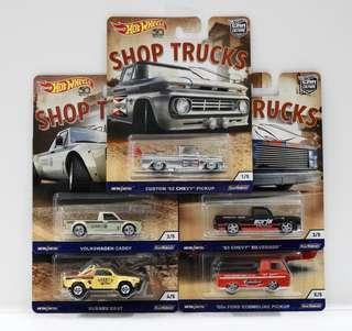 NEW 1:64 Hot Wheels Shop Trucks Custom 1962 Chevy Pickup,Volksw Caddy,1983 Chevy Ford Hobby Diecast Car