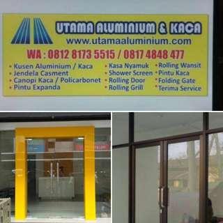 Kusen aluminium dan pintu kaca