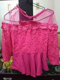 Set dress pink plus rok