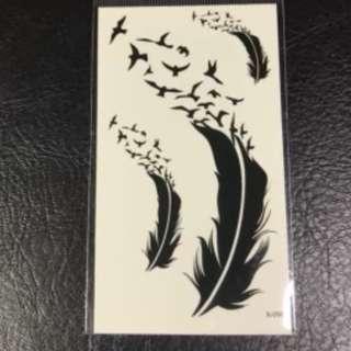d6c8ede17c0b3 Feather Birds Silhouette Minimalist Feminine Temporary Tattoo Sticker