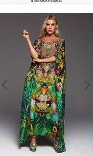 CZARINA BRAND – TROPICAL LOVE ROUND-NECK LONG KAFTAN - ONE SIZE