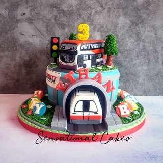 Smrt train & Bus 3d customized birthday boy cake #singaporecake