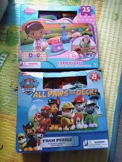 Paw Patrol + Doc Mcstuffins Large Floor Foam Mat Puzzle Game - 25 Pieces