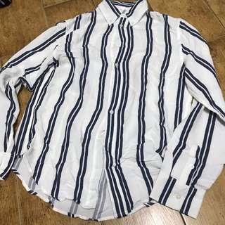 🚚 SALE: NWT Brandy Melville isabela blue pinstripe button up blouse / shirt