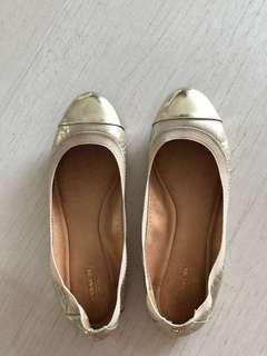 Coach Gold Leather Flats Shoes US7