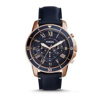 🚚 Fossil Men's Navy leather Watch