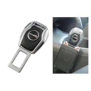 🚚 權世界@汽車用品 Type R 皮革黑色鍍鉻造型 高質感金屬安全帶消音扣 插銷 HD-840