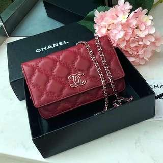 ❤️Superb Deal! Save 60%!❤️ Chanel WOC in Red Calfskin SHW