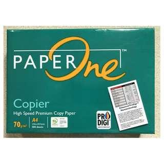 Paper One A4 White Printing Photocopy Paper 70 GSM Ream