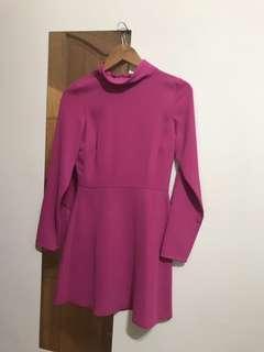 🚚 英國ASOS asos 桃紅色收腰顯瘦A字洋裝