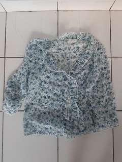 blue floral ruffle vintage top