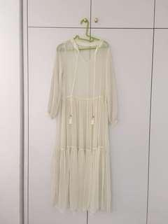 Korean off white maxi dress