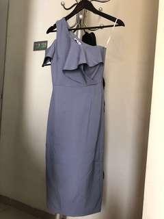 One Shoulder Dress with Slate Grey Color