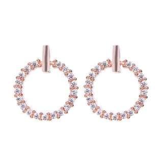 S925 Silver Rose Gold Bling Bling Earrings #mmar18