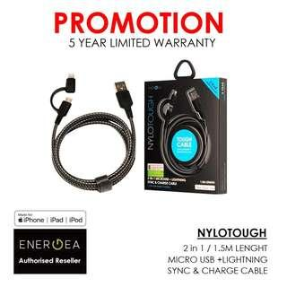 ENERGEA NYLOTOUGH 2-IN-1 MICROUSB + LIGHTNING CHARGE CABLE