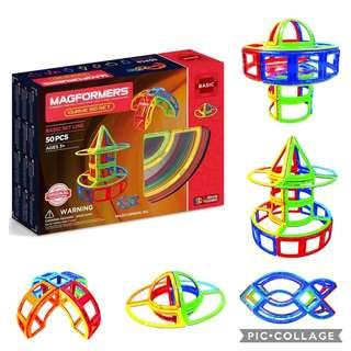 *Brand New* Magformers Curve (50-Pieces) Building Set Rainbow Colors Magnetic Building Blocks, Educational Magnetic Tiles Kit , Magnetic Construction STEM Toy Set (Best Gift for Holiday, Birthday and Christmas)