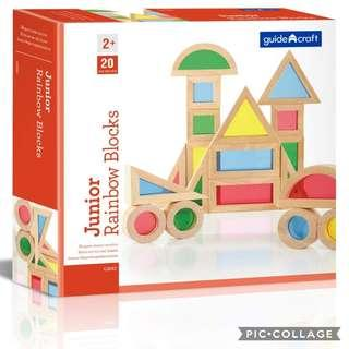 *Brand New* Guidecraft Jr. Rainbow Blocks 20 Piece Set: Kids Colorful Learning and Educational Toy (Best Gift for Holiday Activity, Birthday and Christmas)