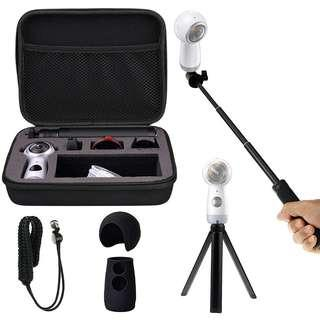 Shockproof Protective Carrying Case, Selfie Stick Monopod, Mini Tripod Stand, Soft Silicone Skin, Wrist Strap for Samsung Gear 360 2017, EEEKit All in One Accessory Kit (All in 1 Kit for 2017 Edition)  #1195
