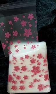 NEW 40pcs Cherry Blossom Design Self-Adhesive Souvenir Cookie or Candy Plastic Pouch 10cm