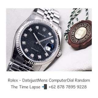 Rolex - Datejust Mens 36m, Diamonds Index, Black Computer Dial Stainless Steel 'Random'