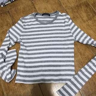 🚚 SALE: BN Brandy Melville grey striped Santana Long sleeve top