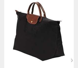 🚚 Longchamp 全新 黑色 摺疊旅行袋L