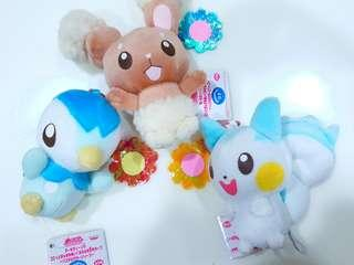 🚚 BN Three Japan Banpresto Pokemon Plush Accessory Charm Doll with Chain