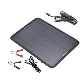 ALLPOWERS 18V 12V 10W Portable Solar Panel Battery Charger Maintainer Bundle with Cigarette Lighter Plug, Alligator Clip for Automobile Motorcycle Tractor Boat RV Batteries - #1196