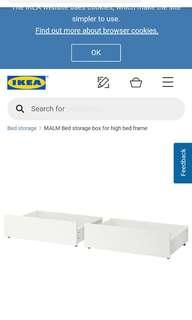 2x MALM bed storage box for high bed frame, white, unpacked