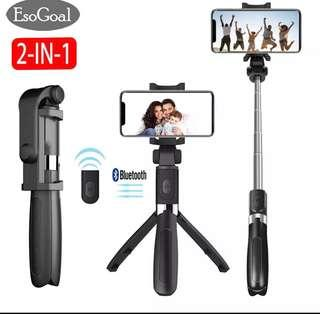 [PO] EsoGoal 2 in 1 Selfie Stick Tripod Bluetooth Selfie Stand with Remote Shutter Foldable Tripod Monopod