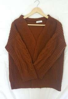 Brown Knitted Cardigan/ Outwear