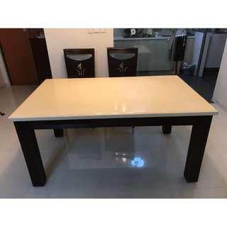 Dining table with 6 chairs, selling at S$50, self collection