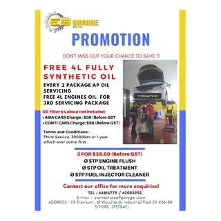 PROMOTION !!! FREE 4L ENGINES OIL FOR 3rd SERVICING PACKAGE