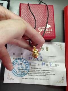 🚚 黃金九尾狐墜粉色蜜糖價2780金重0.42錢