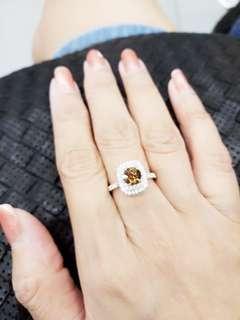 Genuine 1.09 Fancy Vivid Brown Diamond Ring