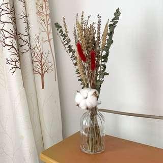 Dried Flowers Vase / Lavender Wheat Cotton Flower