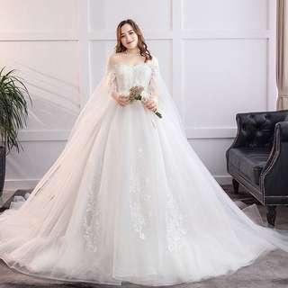 Wedding Dress 大碼露膊(露肩/一字肩)齊地遮手臂婚紗