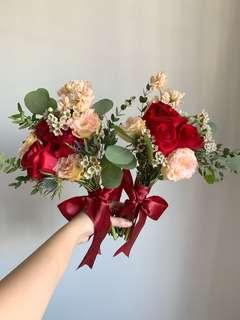 Bridesmaids Bouquet in Rustic Red and Champagne Flowers