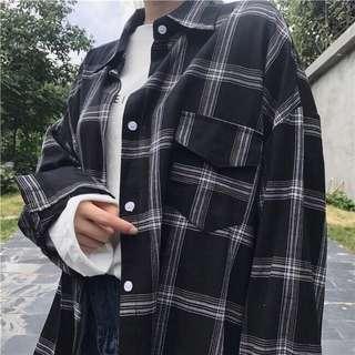 🚚 格子長版襯衫