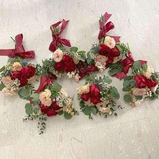 Bridesmaids Bouquet in Red Roses with Rustic Fillers