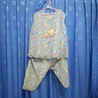 Baju Tidur Anak Perempuan Biru Kotak Beruang Tanpa Lengan Adem Piyama Bekas Second Preloved Murah